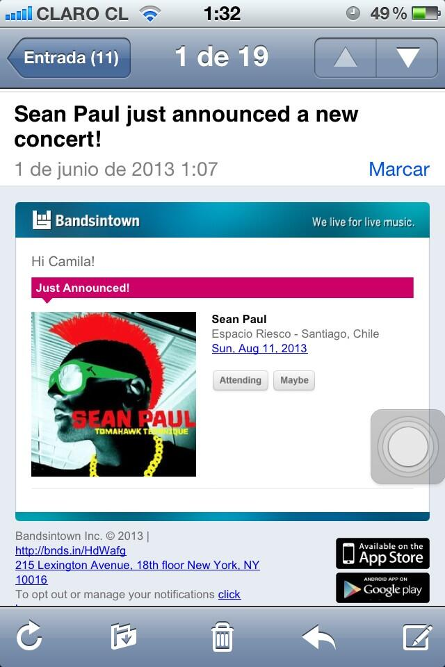 Confirmed SEAN PAUL in CHILE agust 11 2013!!!! @duttypaul OMG RRRRRRRRRRRRRRRTRRRRRRR http://t.co/WYxikkQOXw