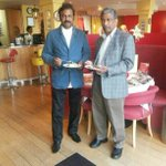 With Dr. venkat at Dr. Ramulu's restaurant - Pappadums, London http://t.co/g1jsLSU8lF