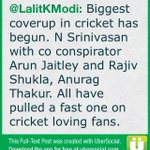 Biggest coverup in cricket has begun. N Srinivasan with co conspirator Arun Jaitley and Rajiv Shukla, (cont)