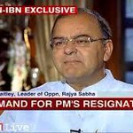 at the drop of the Hat Jaitley coconspirator With N Srinivasan asks for one and all to resign, and stalls parliment