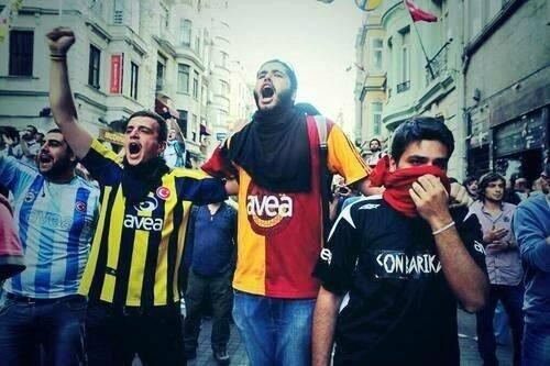 Pics: Fenerbahce, Galatasaray & Besiktas fans unite to protest against the Turkish government