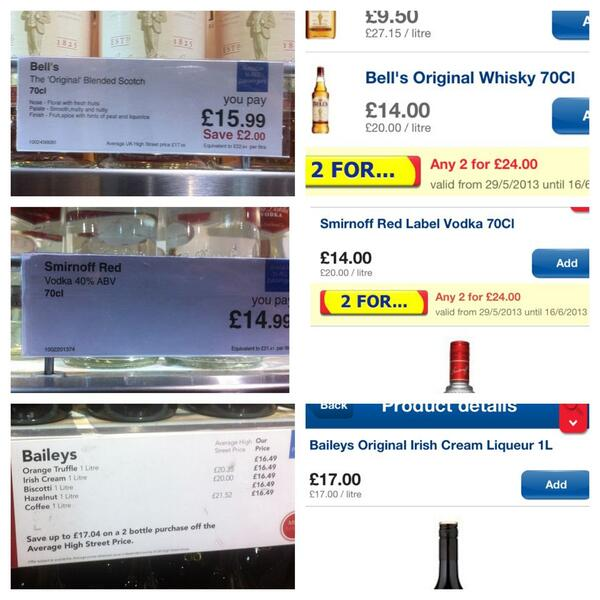 Some bottles of alcohol sold at airports are *cheaper* or same at Tesco. Glad I didn't buy from @heathrowairport. http://t.co/0k7Wubrp0Y