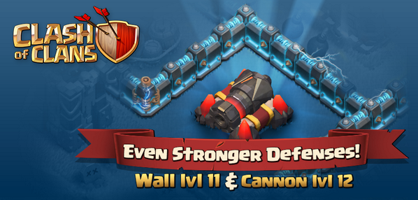 Chief, get the Cannon lvl 12 for epic firepower and make your village perimeter near-impenetrable with lvl 11 Walls!! http://t.co/JshLRTSt4i
