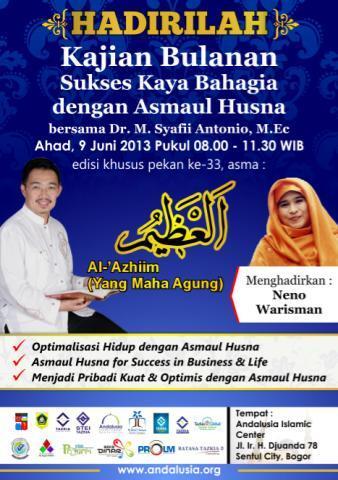 Kajian Bulanan Sukses Kaya Bahagian ke 33 09 Juni 2013 pkl. 08:00 @Andalusia Islamic Centre http://t.co/j87FkIaTdh