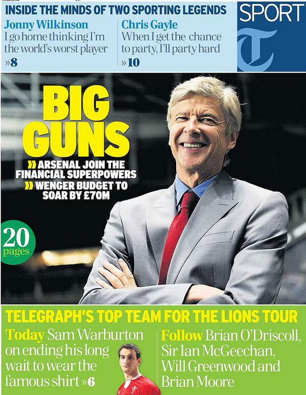BIG GUNS: Wenger boosted by £70m warchest. Tomorrow's front page... http://t.co/U76JGGyGLd