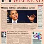 Look at the front page of the Financial Times US edition - 8 June 2013