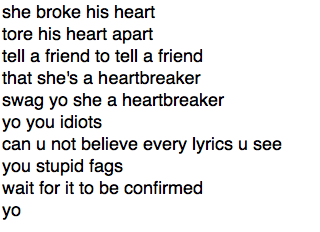 THIS ARE THE OFFICIAL LYRICS OF 'HEARTBREAKER' OMFG http://t.co/OTxI9Mquwi