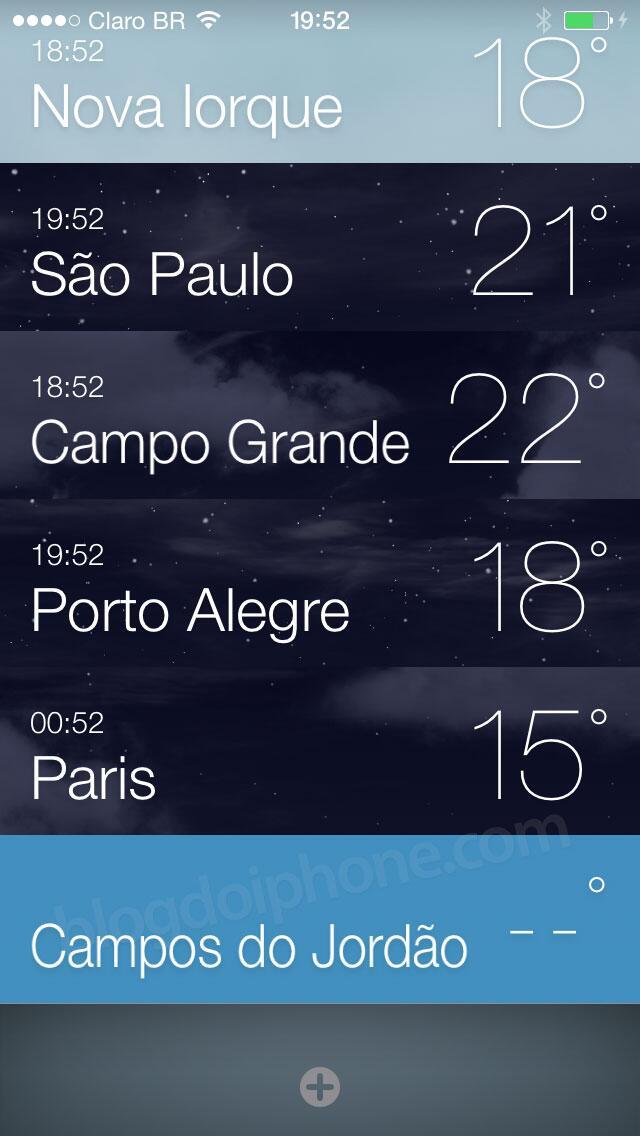 [iOS7] Várias cidades no app Tempo: http://t.co/BEk5jtHgGK