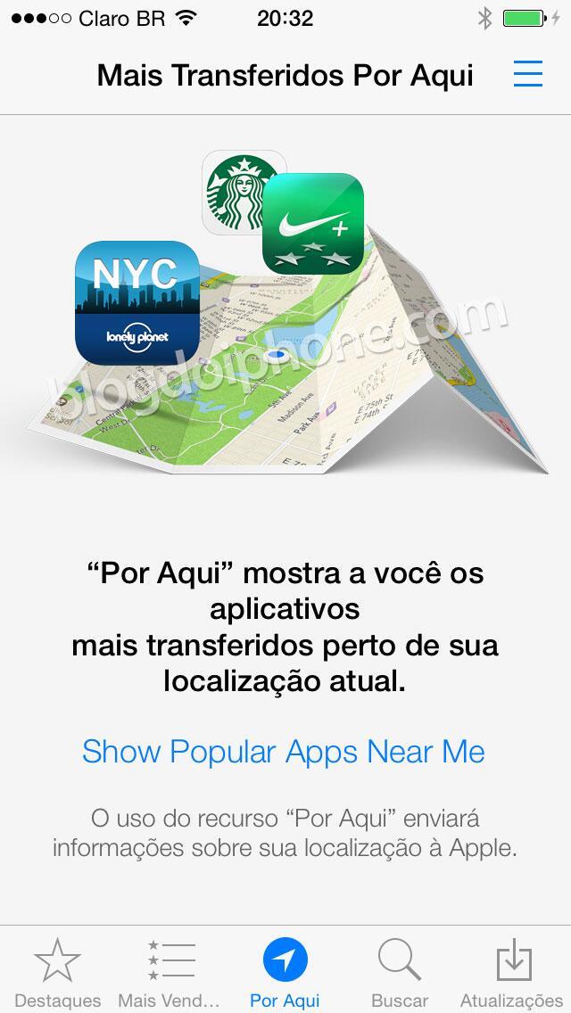 """[iOS7] Novo recurso """"Por Aqui"""" na App Store: http://t.co/P6Fcsdmj3S"""