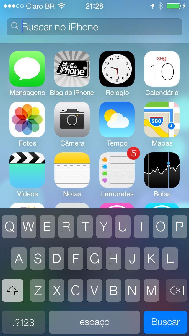 [iOS7] Spotlight agora aparece arrastando a tela para baixo: http://t.co/sJ3nJcRl52