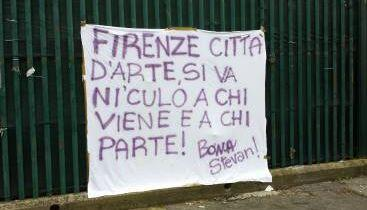 Picture: Arsenal target Stevan Jovetic gets a hate banner posted outside Fiorentinas stadium