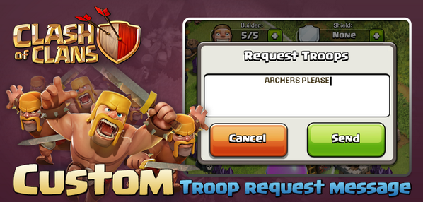 An update is on the way. You'll be able to include custom messages with your troop requests! RT to spread the news! http://t.co/7FendZVpIp