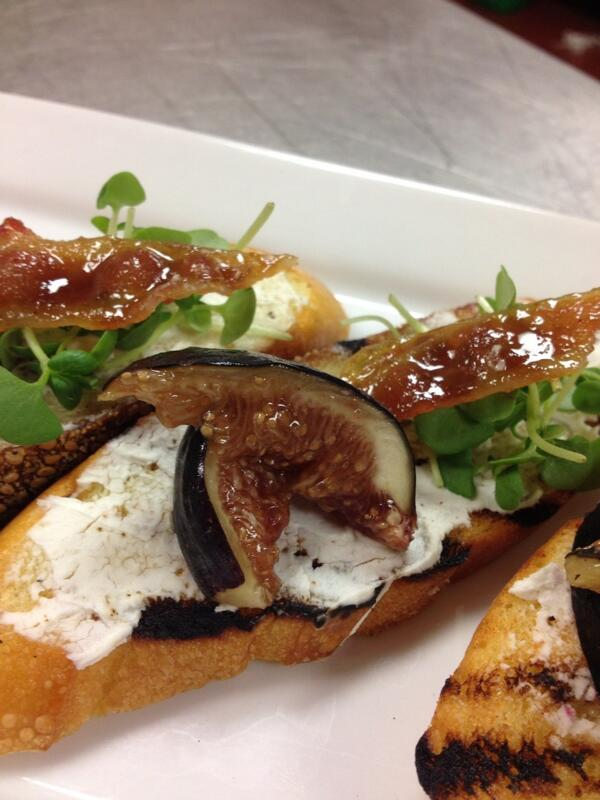 Grilled Crostini of Black Fig, Candied Bacon, Chèvre and Micro Basil. http://t.co/iVVCExA5mP