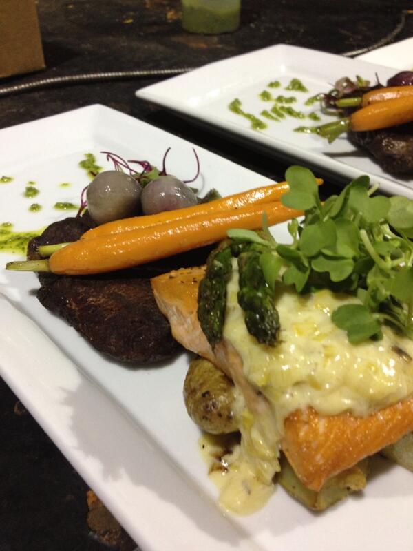 Seared Copper River Salmon, Leek Fondue, Micro Mustard Greens, Grass Fed Beef Tenderloin Filet #JDKculinary http://t.co/FcnISTtcDZ