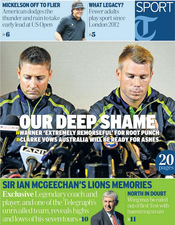 Friday's front page - OUR DEEP SHAME: Clarke says Warner has embarrassed Australia... http://t.co/mIR0PEoOwH
