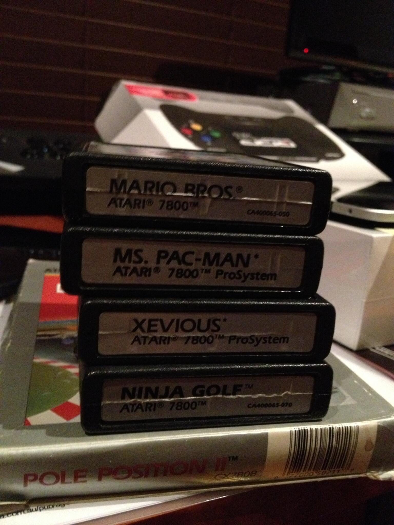 A stack of Atari 7800 games to 'test' ;-) #retrogaming #Atari http://t.co/jSooq7OyD1