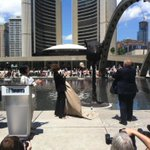 Mayor Rob Ford unveils giant sculpture of a rat head in front of #TO City Hall #TOpoli http://t.co/YOVSnifo79