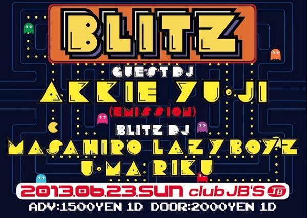 YAMASHITA YUMA (@uuumma): さて、今週の日曜日はMAX MASHIRO主催ながらも自ら大量の酒を浴び朽ち果てるという伝説のパーティ『BLITZ』がJBSにてございます!ラストという事なのでその姿を皆さんで拝んで差し上げましょう!是非ともよろしくお願い致します! http://t.co/CcA1BYyK7S