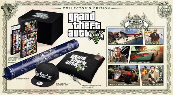 RT @theGTAbase: GTA 5 Collectors Edition: Los Santos New Era SnapBack, custom multiplayer characters, carbon sports bike & more. http://t.c…