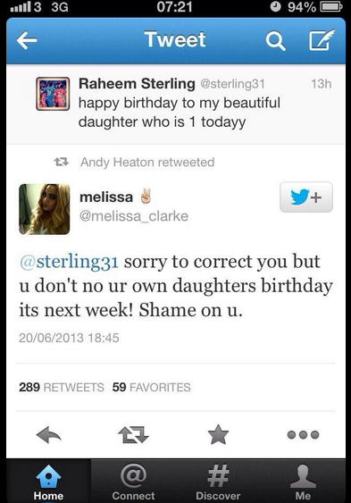 Doh! Raheem Sterling gets daughters birthday wrong, mother publicly shames him