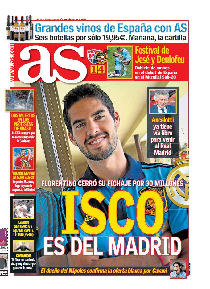 Done Deal? Isco has chosen Real Madrid over Man City, will cost €20 30m [Marca & AS]