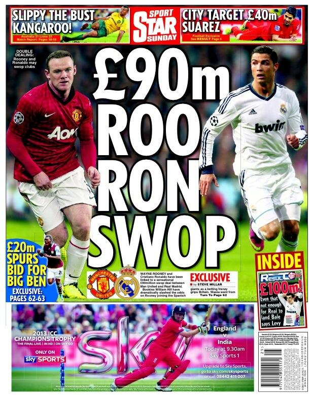 Youve gotta be joking: The Star link Man United & Real Madrid with Rooney Ronaldo swap