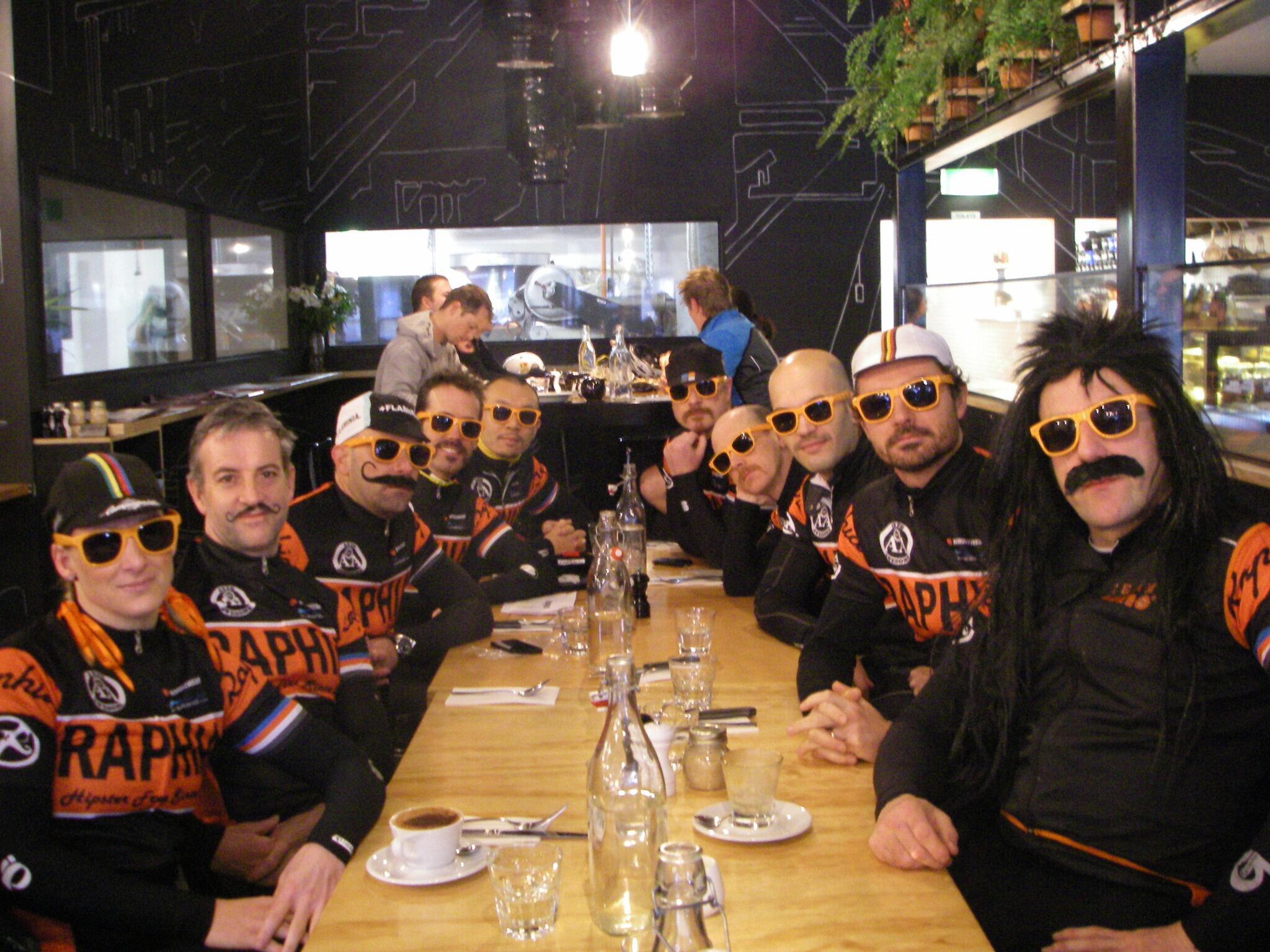 Team @raphiaracing expressing their unbridled enthusiasm for their Freetrade espresso's  #melburnroobaix http://t.co/2bbKT3rMwB