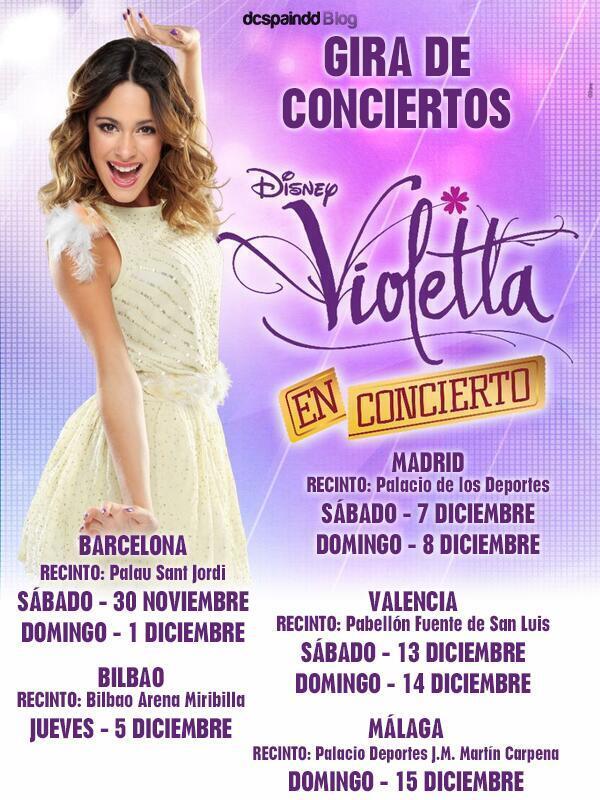 RT @ViolettaEuropa: Habrá 8 conciertos de Violetta en España POR AHORA aqui toda la información. ¡Imperdible! . CC @TiniStoessel http://t.c…