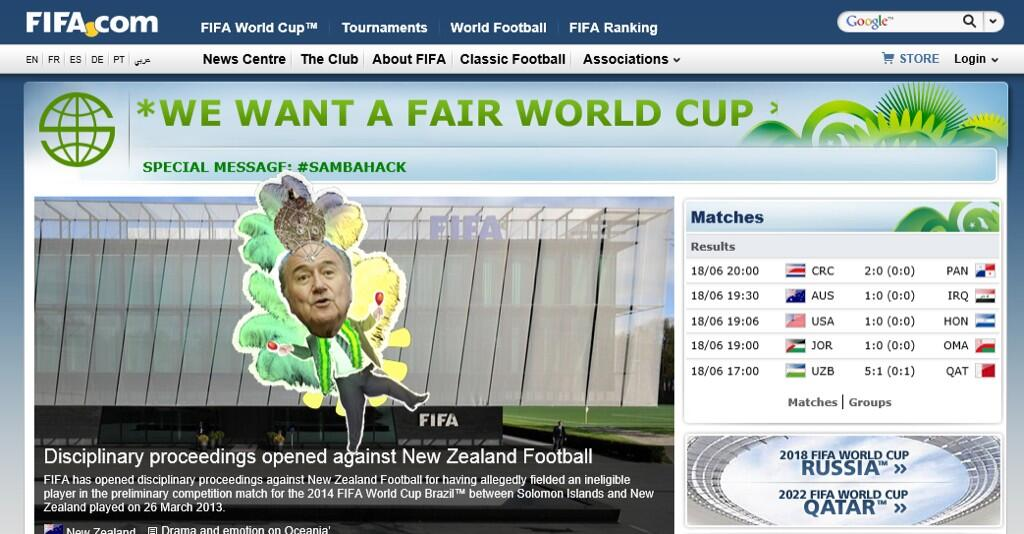 Sambahack! FIFAs 2014 World Cup website gets hacked, users greeted by a dancing Sepp Blatter