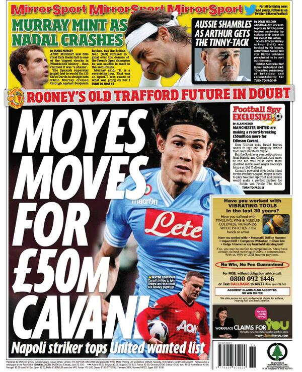 BNjiwykCUAAW pq Manchester United join the race for Edinson Cavani [Tuesday Daily Mirror backpage]