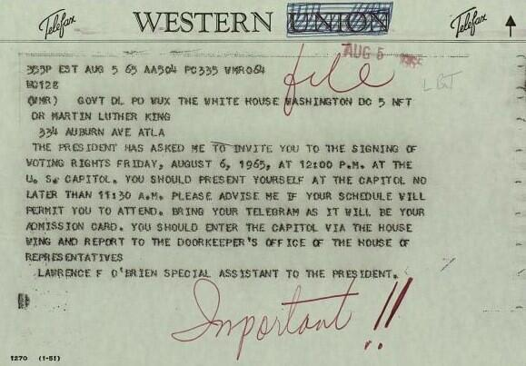 RT @BeschlossDC: This is Martin Luther King's invitation to LBJ's signing of the Voting Rights Act, 1965: http://t.co/SVYxtFtE7W