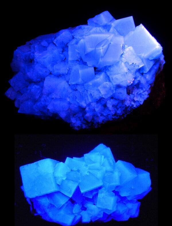 『天空の城ラピュタ』の飛行石のモデルになったと言われるホタル石(フローライト)。ホタル石の中でも紫外線をあてると発光する
