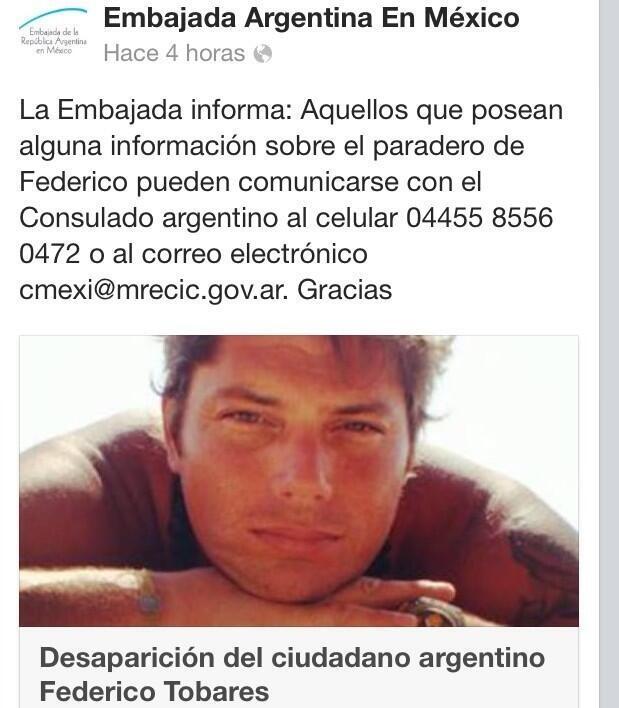 #BuscamosAFedeTobares es argentino,hace tres semanas esta desaparecido en México, ayudanos a difundirlo @rialjorge http://t.co/jSuAa73rcl