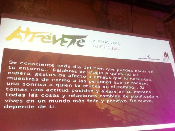 Juanjo fraile (@Juanjofraile): Arranca segunda mañana... Bienvenidos a #AtreveteTalentya # http://t.co/2hVRBEccIl