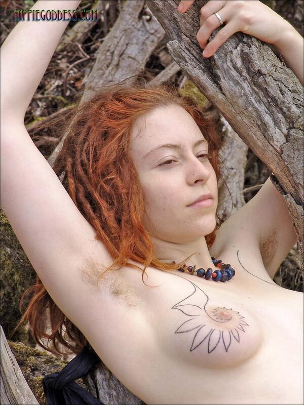 #natural #redhead, #hippiegoddess Maia. Amazing #tattoo ing on her breasts. Also #dreadlocks and #bodyhair