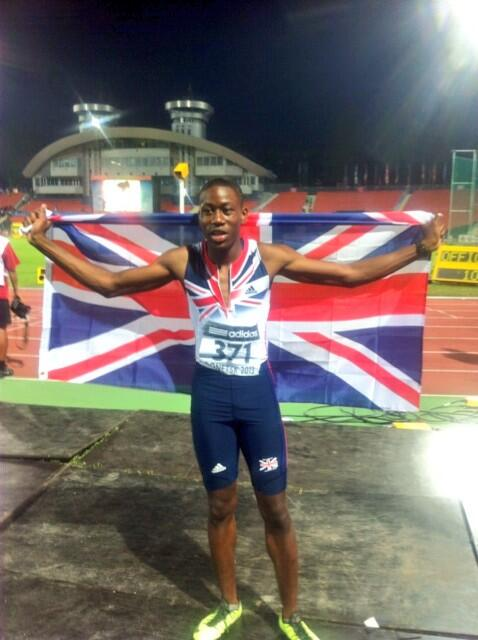 GB & NI's first medal comes from @osrgx100m who ran a huge PB of 10.35 for a silver medal #Donetsk2013 http://t.co/yTKzz1GMBl