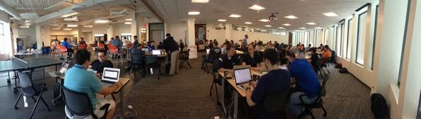 Over 140 Acquians at the 24-hour summer @acquia hackathon! #drupal http://t.co/tgO6oKJX5Q