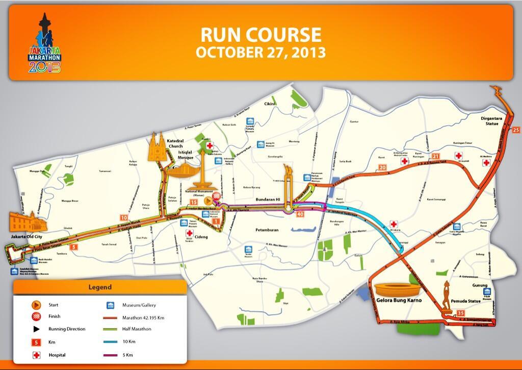 Runners, here are Jakarta Marathon 2013 Complete Course Map merapat ke TL @TheJKTMarathon utk detailnya #JakMar2013 http://t.co/131O2C2dcc