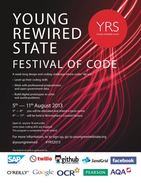 Looking forward to #yrs2013 Get kids coding with @youngrewired http://t.co/o7P24WpOxU