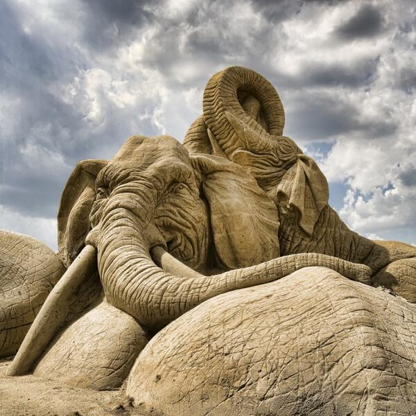 An Impressive Sand Sculpture of Two Elephants http://t.co/Ngvxhw6gT2