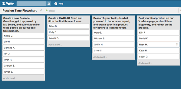 I'm hoping to try out Trello next year for #GeniusHour - Here is another way: http://t.co/qelE3NnYzC