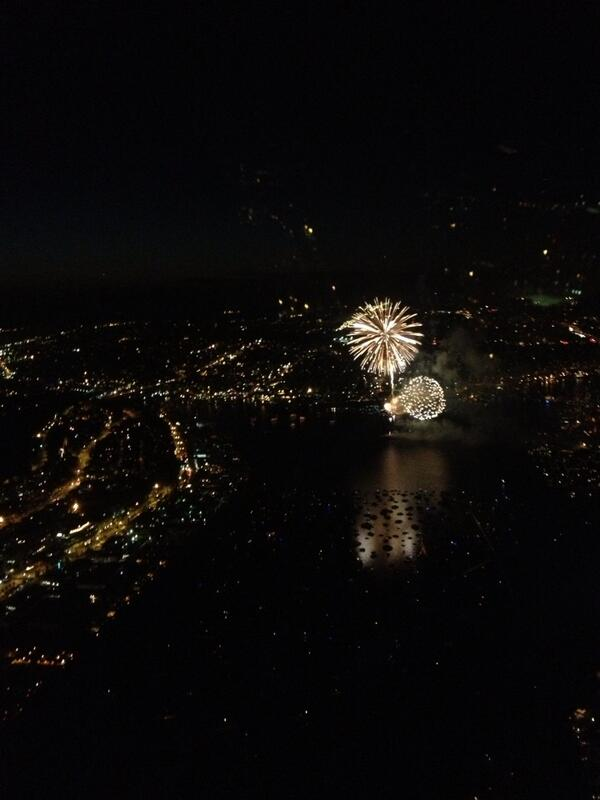 Alexis Smith (@AlexisASmith): View from Chopper 7- 99 moving well but SB I-5 slow as people slow down to watch show. #KIRO7Fourth http://t.co/aLoULf1HV2
