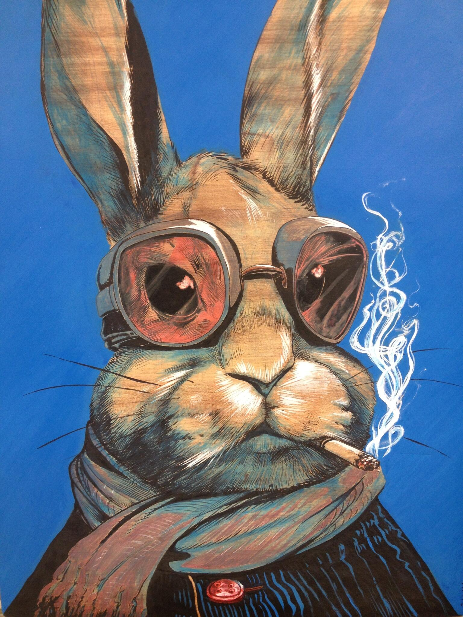 There was this old wooden cutting board lying around, so I brushed some ink on it and a rabbit appeared… http://t.co/KR3fgwPTuR