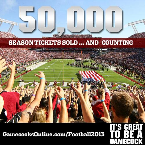 RT @GamecocksOnline: We've passed 50,000 season tickets sold! Thank you #Gamecocks!! First time over 50k since 2008. http://t.co/Bj2JueOI3B
