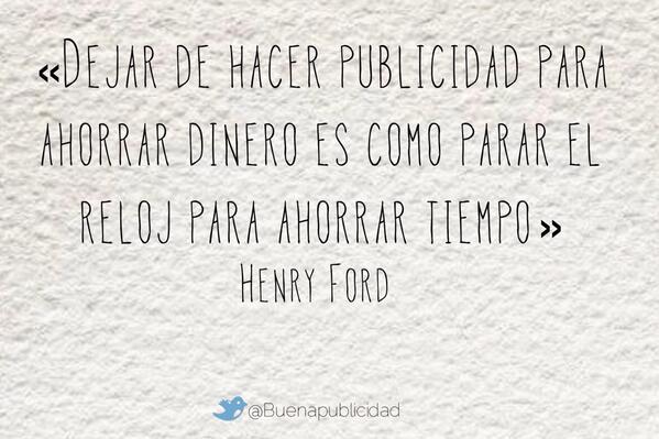 Esta cita de Henry Ford es, sin duda, una de las mejores de la historia de la #publicidad. http://t.co/uRxNpnDZQM