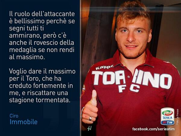 FOTO. Luego de un gran europeo con la azzurra, estos son los deseos de Ciro IMMOBILE, nuevo atacante @TorinoFC_1906 http://t.co/YEUL94BpER