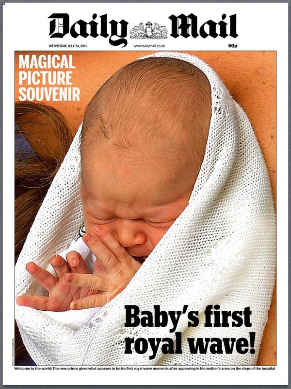 """Wednesday's Daily Mail: """"Baby's first royal wave"""" - http://t.co/D2G4x86MtH - via @hendopolis #TomorrowsPapersToday #BBCPapers"""