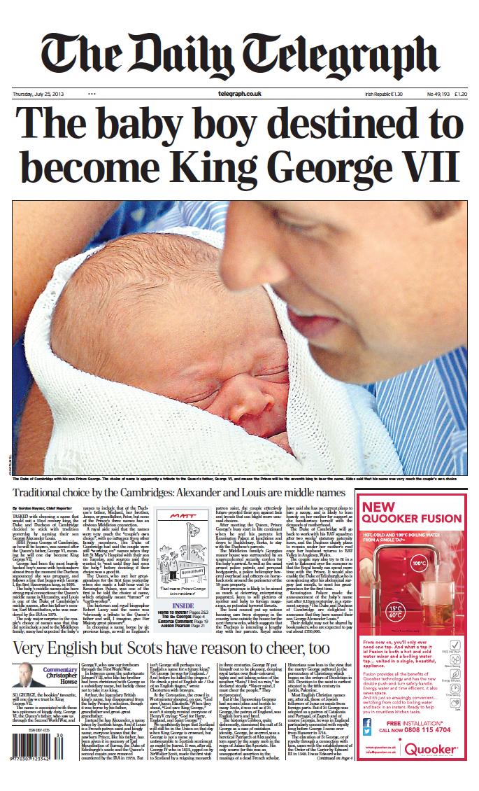 Thursday's Daily Telegraph front page: 'The baby boy destined to become King George VII' #tomorrowspaperstoday http://t.co/B7pU9eE7xY