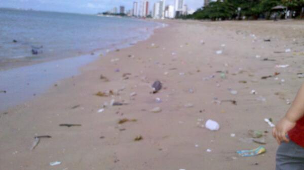 Meiry Lanunce (@Meiry_Lanunce): Praia de Casa Caiada, Olinda. 8h30 da manhã. Lixo por todo lado.Não dá p caminhar com criança sem pensar nos riscos. http://t.co/CKq47Q4EJF