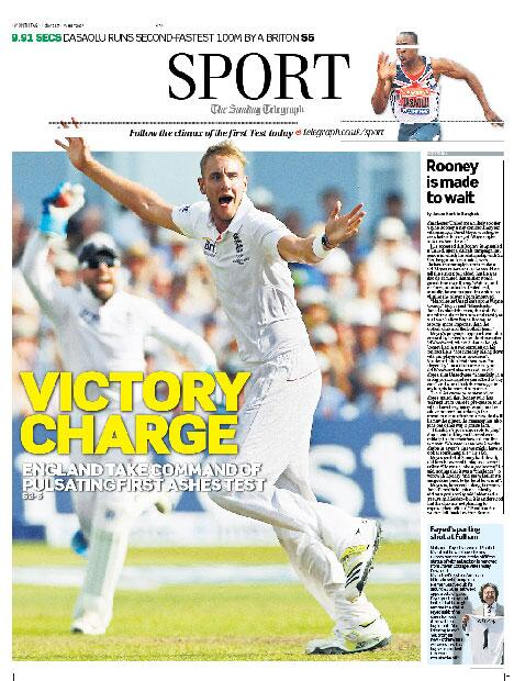 VICTORY CHARGE: England take command of pulsating first Ashes Test. tomorrow's front... http://t.co/hFIGOnMTNz